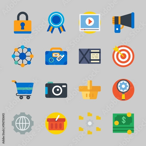 Icons about Commerce with money, suitcase, video player