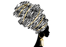 Vector Portrait Beautiful Afri...