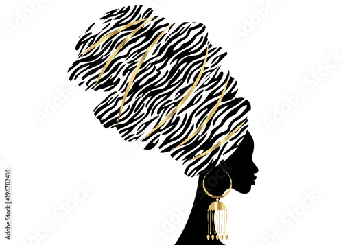 Fotografía  Vector Portrait beautiful African woman in traditional turban, Kente head wrap,