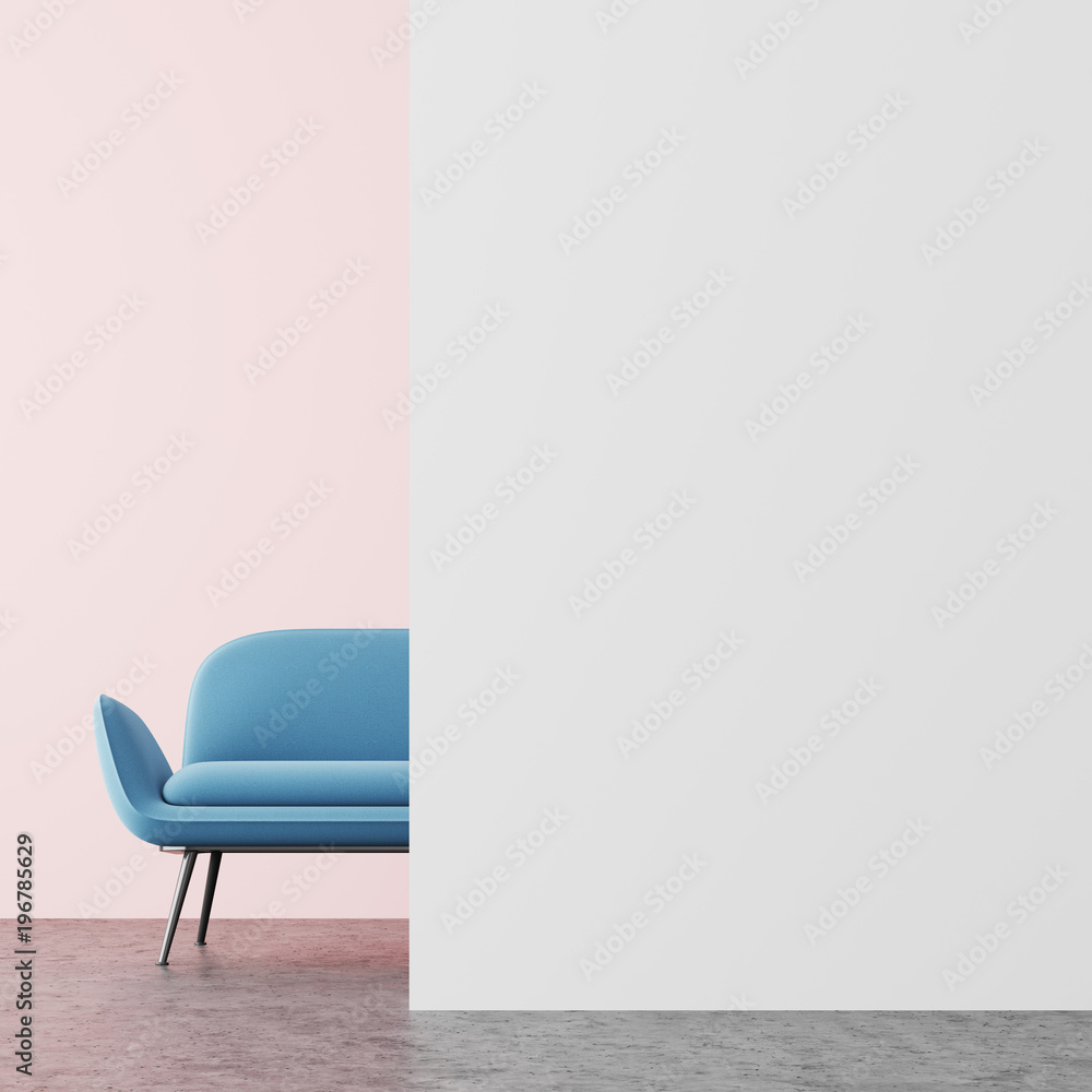 Fototapety, obrazy: Pink and white living room, blue sofa