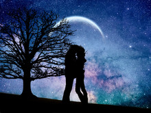 Photomanipulation Of A Couple In Love Under The Moon And Into The Galaxy.