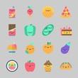 Icons about Food with orange, ice cream, melon, radish, taco and pea