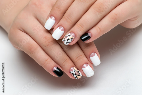 Aluminium Prints Manicure white black manicure with a delicate design of stripes, sequins, geometry on square nails