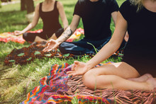 Young Yoga Practitioners In Gr...