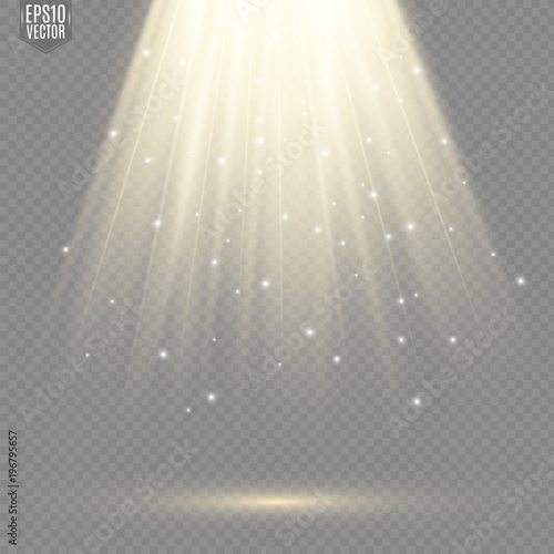 Obraz Light flare special effect with rays of light and magic sparkles. Glow transparent vector light effect. - fototapety do salonu