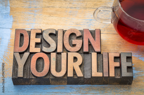 Poster Retro design your life word abstract in wood type