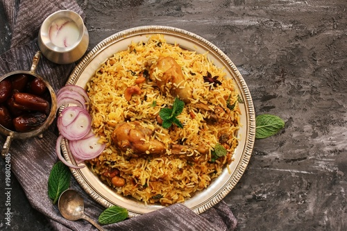 Chicken Kabsa - Homemade Arabian biryani  overhead view Canvas Print