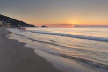 Sunrise On Alassio Beach And Gallinara Island, Alassio, Savona Province, Liguria, Italy