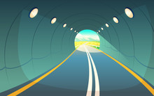 Vector Illustration Of Tunnel, Highway. Grey Asphalt With Lighting In Underground Road. Countryside, Wheat Field With Sky And Mountains At The Exit Of Way.