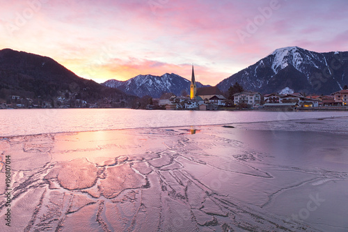 Poster Lichtroze Winter sunrise in Rottach-Egern with the frozen Tegernsee Lake, District Miesbach, Upper Bavaria, Germany, Europe