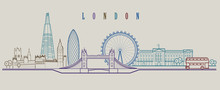 London Skyline. Vector Background. Outline Graphic Illustration.