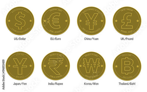 Set Of Gold Coins With The Currency Symbol On Transparent