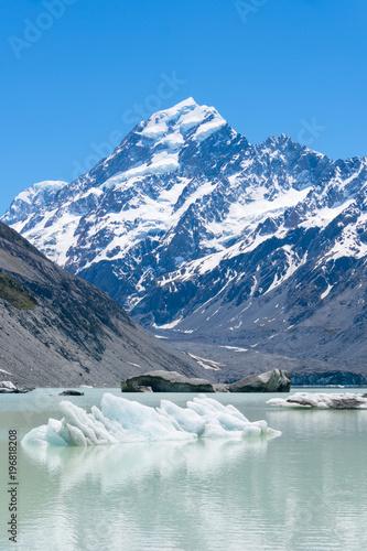 Printed kitchen splashbacks Glaciers マウントクック国立公園 フッカー湖とマウントクック
