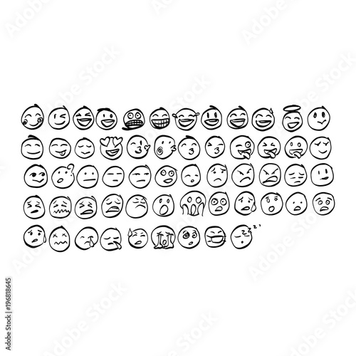 Collection Of Freehand Doodle Emoji Emoticons Vector Il Ration Sketch Hand Drawn With Black Lines Isolated On White Background