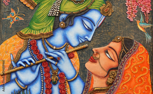 Fotografia  Closeup of Hindu God Sri Krishna and Radha art as in mythology in a temple