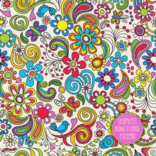 Seamless Boho Floral Pattern. ...