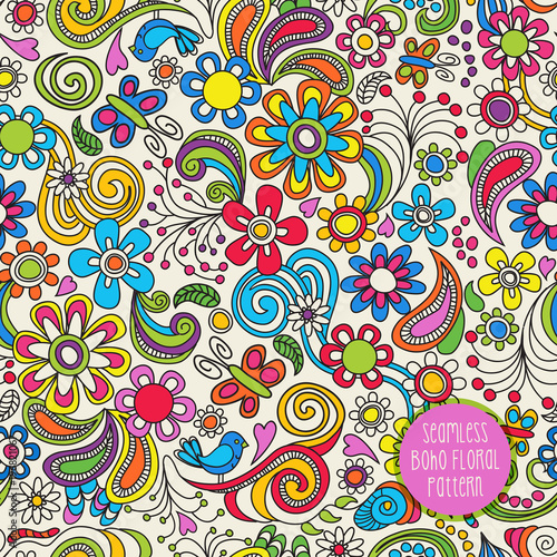 Foto op Canvas Kunstmatig Seamless Boho floral pattern. Vector illustration for backgrounds, papers, fabrics and decor.