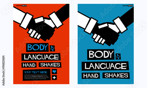 Fényképezés  Body Language: Hand Shakes Poster In Flat Style Retro Design with Text Box Templ