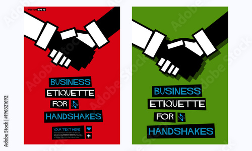 Business Etiquette For Handshakes Poster In Flat Style Retro Design With Text Box Template