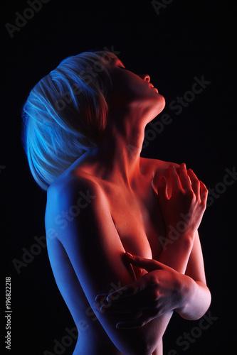 Deurstickers Akt Naked Blonde Girl in Colorful bright lights