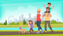 Happy Family Walks Around The ...