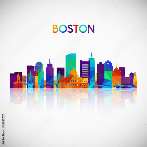 Boston skyline silhouette in colorful geometric style Wallpaper Mural