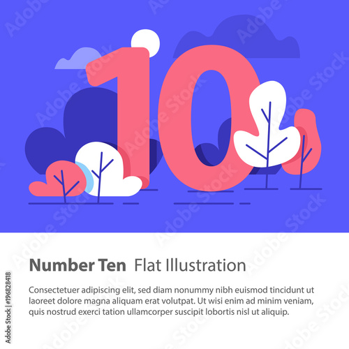 Valokuva  Sequential number, number ten, top chart concept, night sky, flat illustration