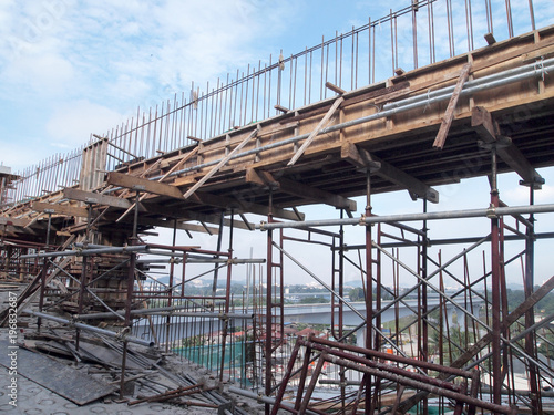 Fabrication work of building beam form work and