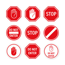 Stop Road Sign With Hand Gestu...