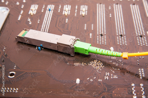 Vászonkép Optical gigabit SFP module for network