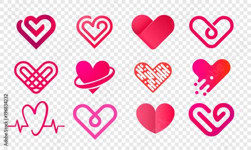 Cuadros en Lienzo Heart logo vector icons set