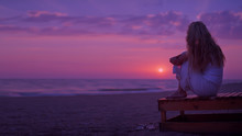 Background Purple Sunset On Th...