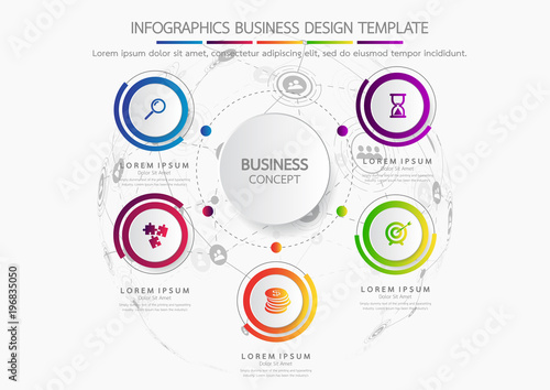 Photo  Vector infographic template business concept with options