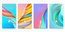 Mobile Screen Lock Display With Abstract Modern Wallpaper Background. Vector Smartphone Screenlock Template Or Lockscreen Passcode Access Authentication With Bright Theme