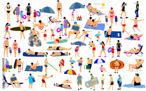 Sunny day on the beach vector illustration over 50 people characters(boy,girl,man,woman,swimmer,parents, tourists, mother,father,) Water sport Fotobehang