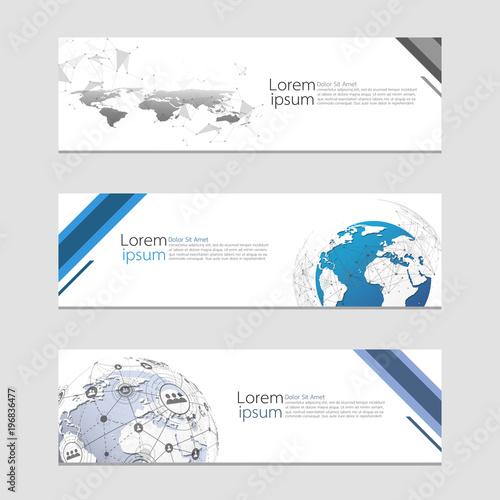 Set Of Modern Abstract Design Web Banners Template Global Network Connection World Map Point And Line Composition Concept Business