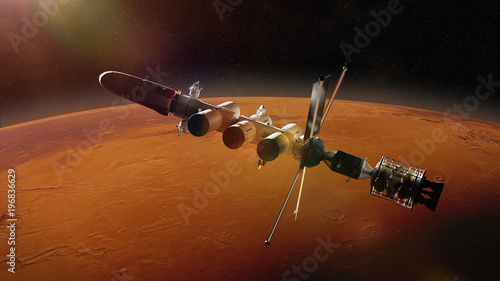 Poster Marron chocolat futuristic space ship in orbit of the planet Mars, mission to the red planet
