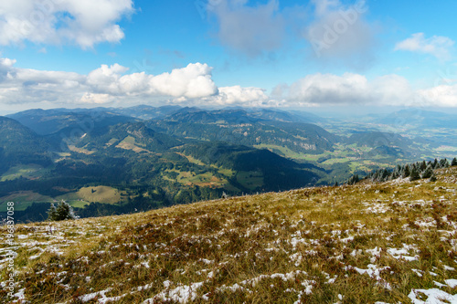 Foto op Aluminium Bergen Hiking trail in the mountain landscape of the Allgau Alps on the Fellhorn nice view