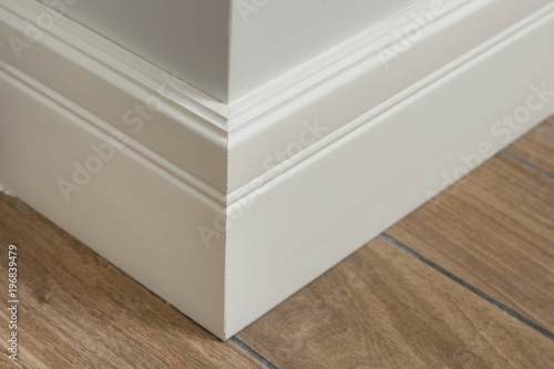 Molding in the interior, baseboard corner Canvas Print