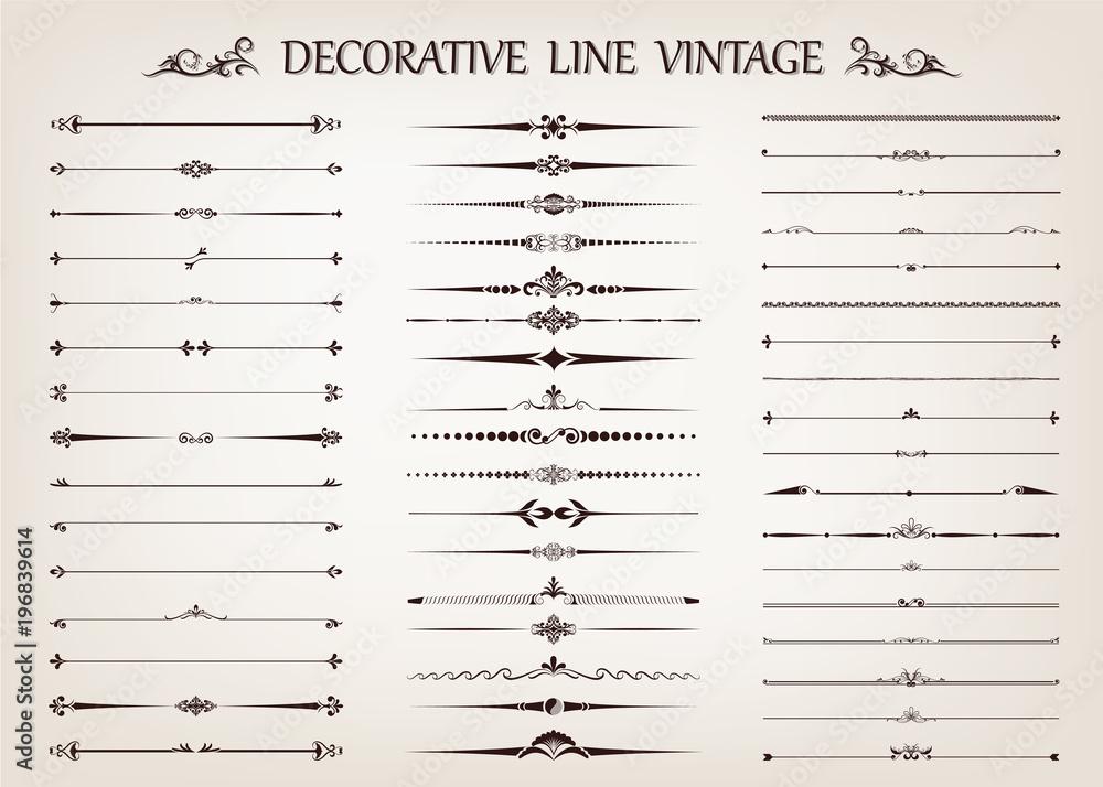 Fototapeta set of vintage line