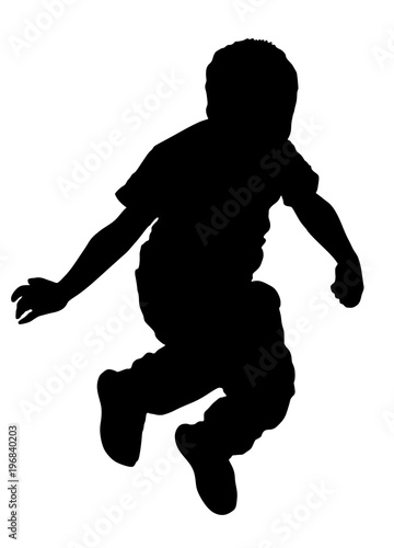 Hy Joyful Kid Little Boy Jumping High Vector Silhouette Ilration Isolated On White Background