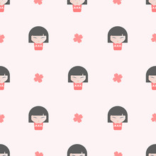 Seamless Cute Pattern With Japanese Kokeshi Dolls On Pink Background.