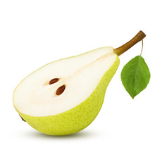 Half Pear, Slice, Isolated On White Background, Clipping Path, Full Depth Of Field