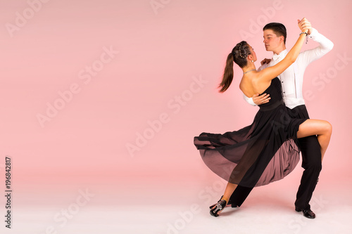 Stampa su Tela Tango dancing school couple background