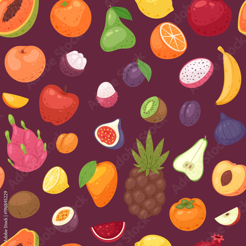 Fruits vector fruity apple banana and exotic papaya with fresh slices of tropical dragonfruit or juicy orange illustration fruitful set seamless pattern background Wall mural
