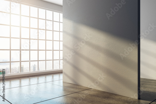 Obraz Bright interior with empty wall - fototapety do salonu