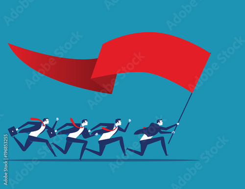 Foto auf AluDibond Drachen Business team holding flag and running to success. Concept business vector illustration.