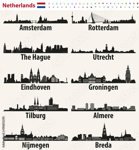 Foto auf Leinwand Rotterdam Netherlands largest cities skylines silhouettes