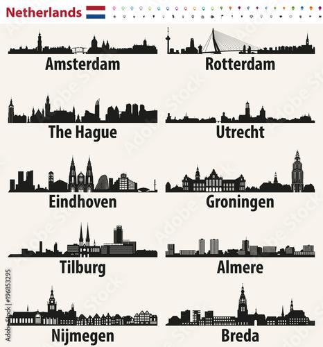 Foto auf AluDibond Rotterdam Netherlands largest cities skylines silhouettes