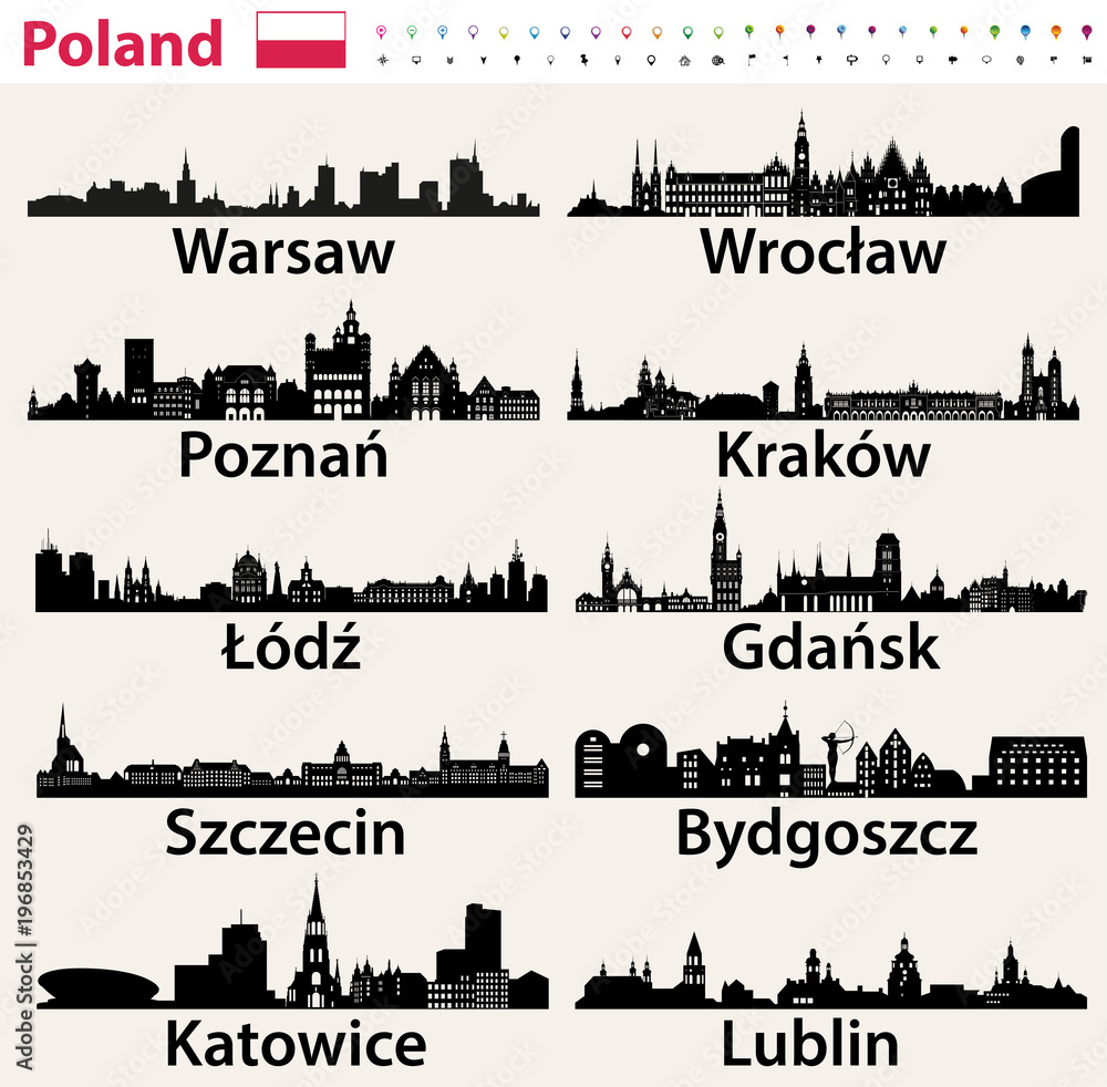 Fototapeta Poland largest city skylines silhouettes